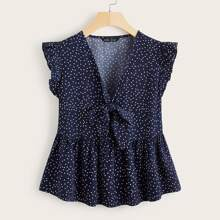 Polka Dot Tie Front Babydoll Blouse