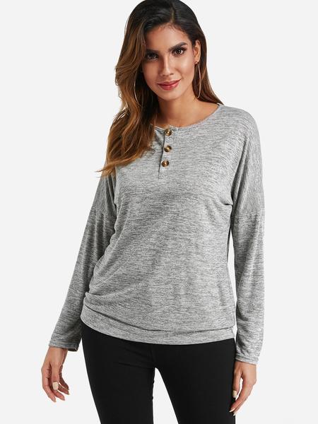 Yoins Grey Button Design Round Neck Long Sleeves Top