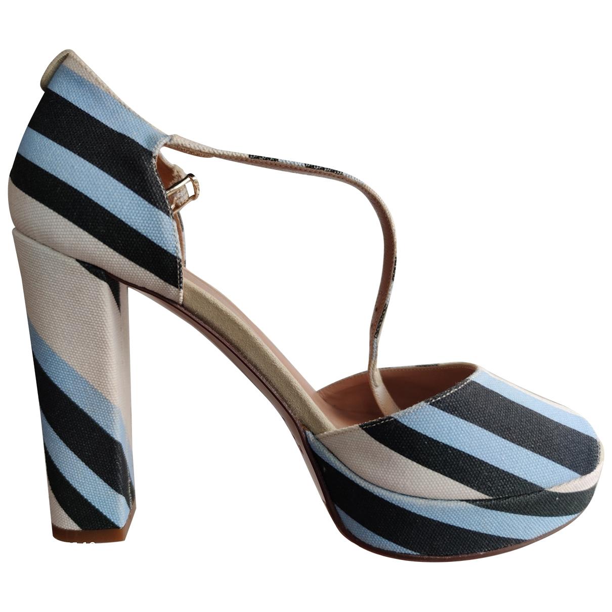 - Sandales   pour femme en toile - blanc
