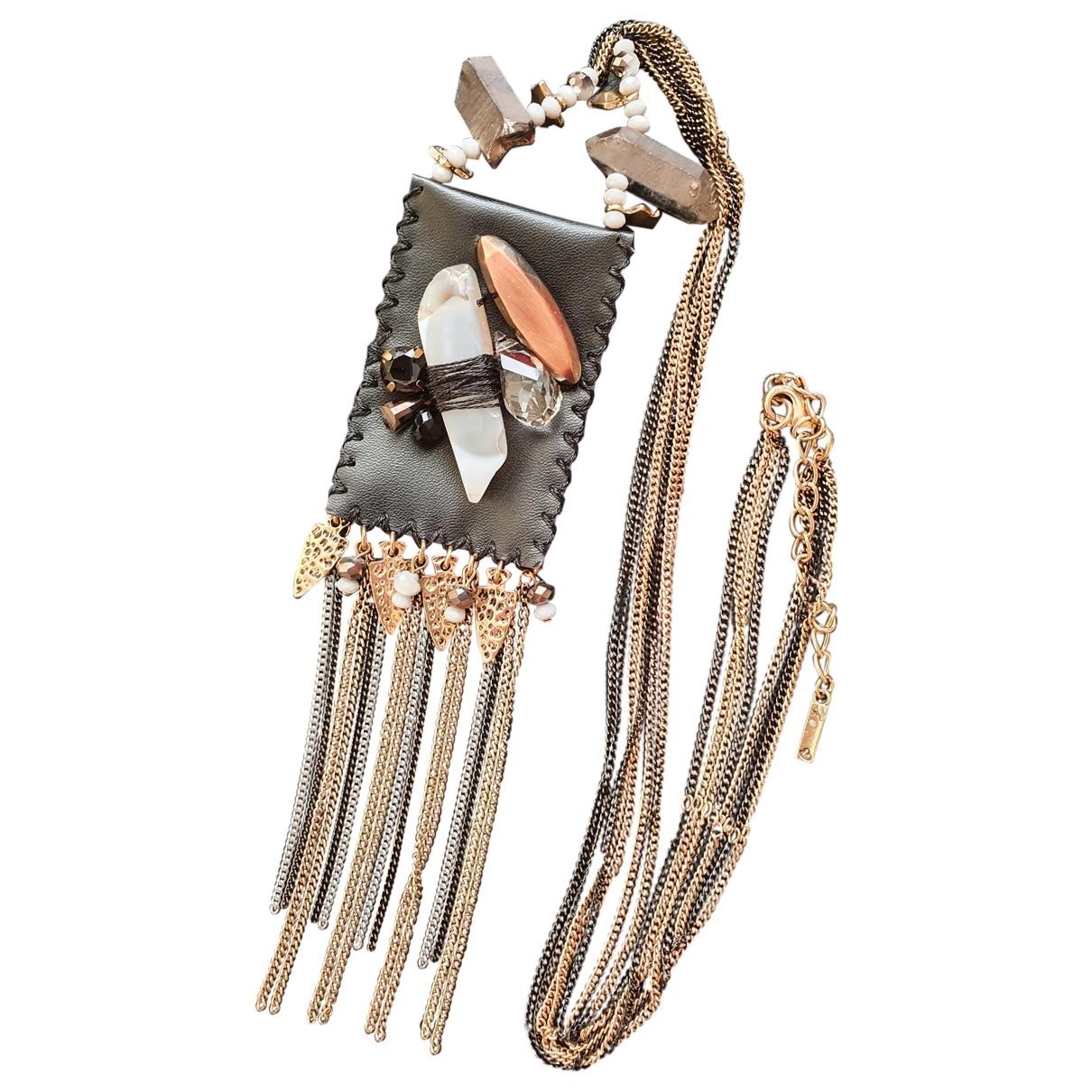 Non Signe / Unsigned Motifs Ethniques Halskette in  Ecru Metall