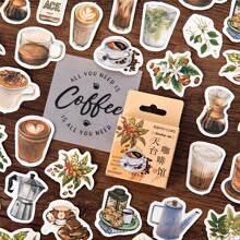 Aufkleber mit Kaffeetasse Muster 46 Stuecke