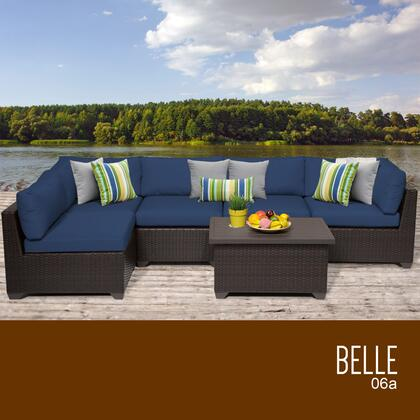 BELLE-06a-NAVY Belle 6 Piece Outdoor Wicker Patio Furniture Set 06a with 2 Covers: Wheat and