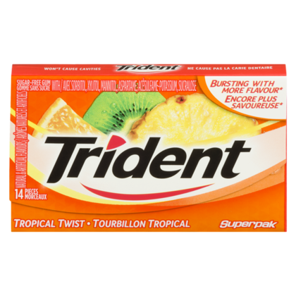 Trident®Sugar-Free Gum Twist Gum Tropical 14pcs / paquet