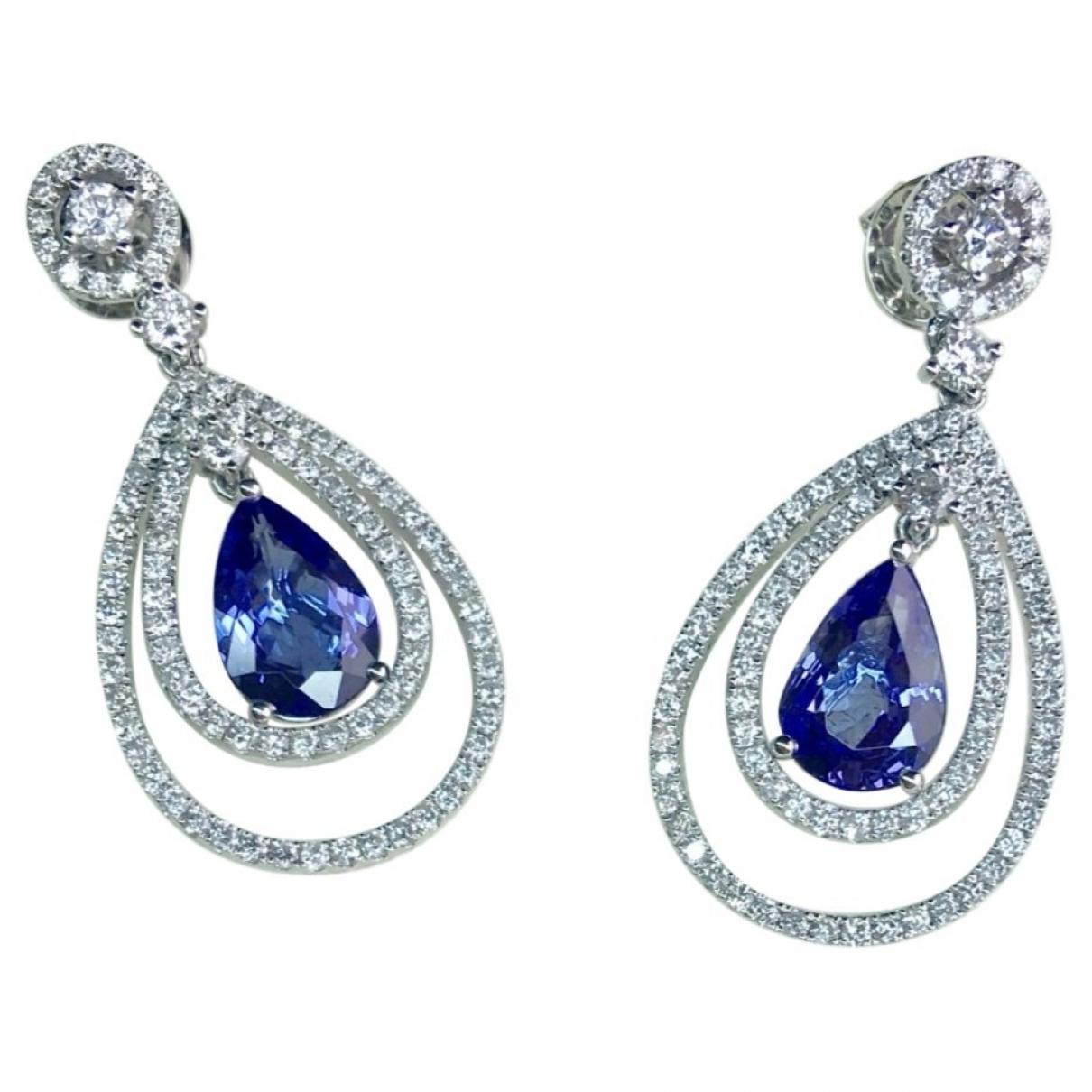 - Boucles doreilles Saphir pour femme en or blanc - bleu