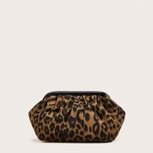 Bolsa bandolera de leopardo con diseño de fruncido
