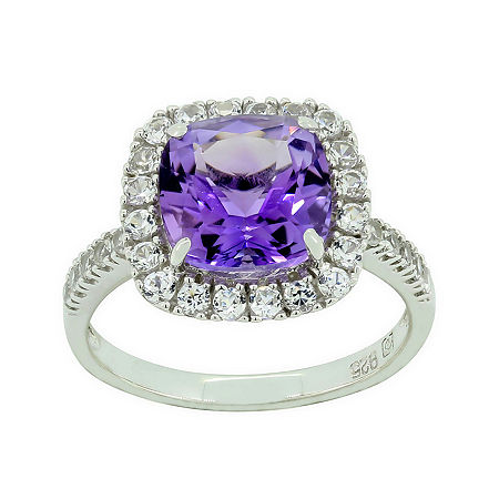 Genuine Amethyst & Lab-Created White Sapphire Ring, 8 , No Color Family