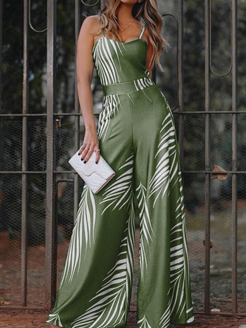 Ericdress Casual Color Block Full Length Wide Legs Loose Jumpsuit