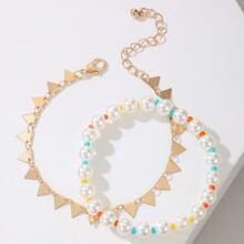 2pcs Geometric Beaded Bracelet