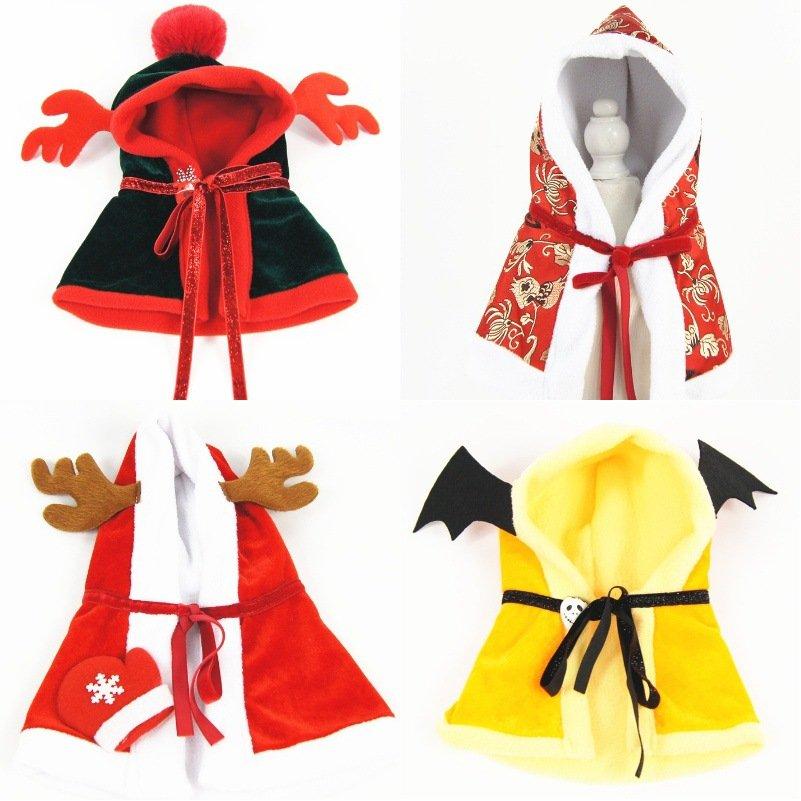 Halloween Christmas Original New Pet Cloak Dog Clothing Plus Velvet Hooded Pet Clothes
