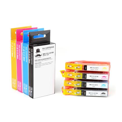 Compatible Canon CLI-221 CLI-221BK CLI-221C CLI-221M CLI-221Y Ink Cartridge Combo BK/C/M/Y
