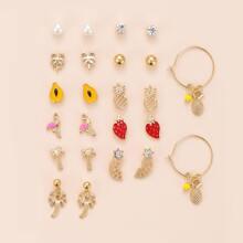 12 Paare Ohrringe mit Obst Design