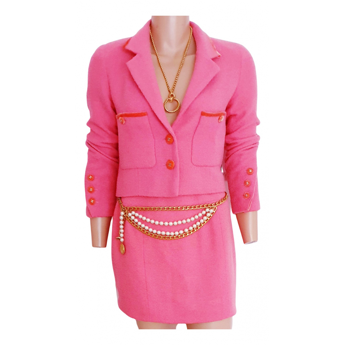 Chanel N Pink Tweed jacket for Women 42 FR