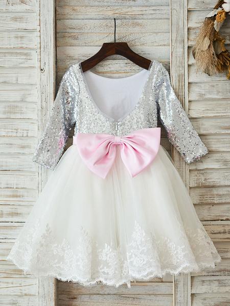 Milanoo Flower Girl Dresses Jewel Neck Long Sleeves Sash Kids Social Party Dresses