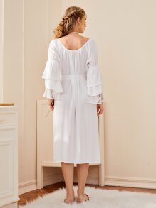 Scoop Neck Layered Sleeve Belted Dress