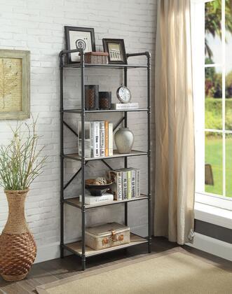 BM184754 Five-Tier Metal Bookshelf With Wooden Shelves  Oak Brown &