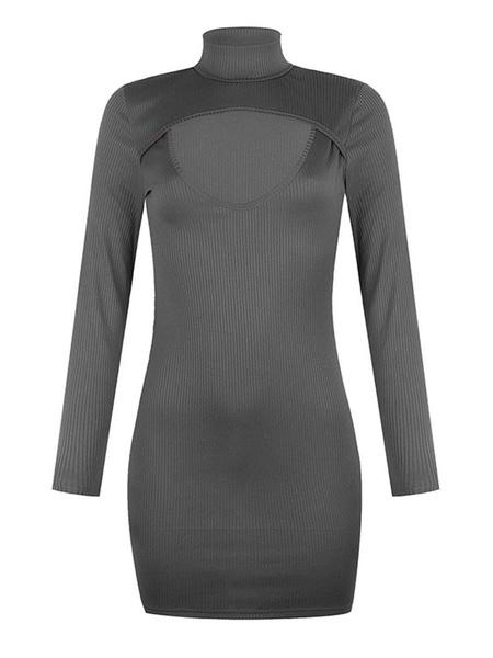 Milanoo Women\'s Bodycon Dresses Navy Blue High Collar Casual Long Sleeves Pencil Dress