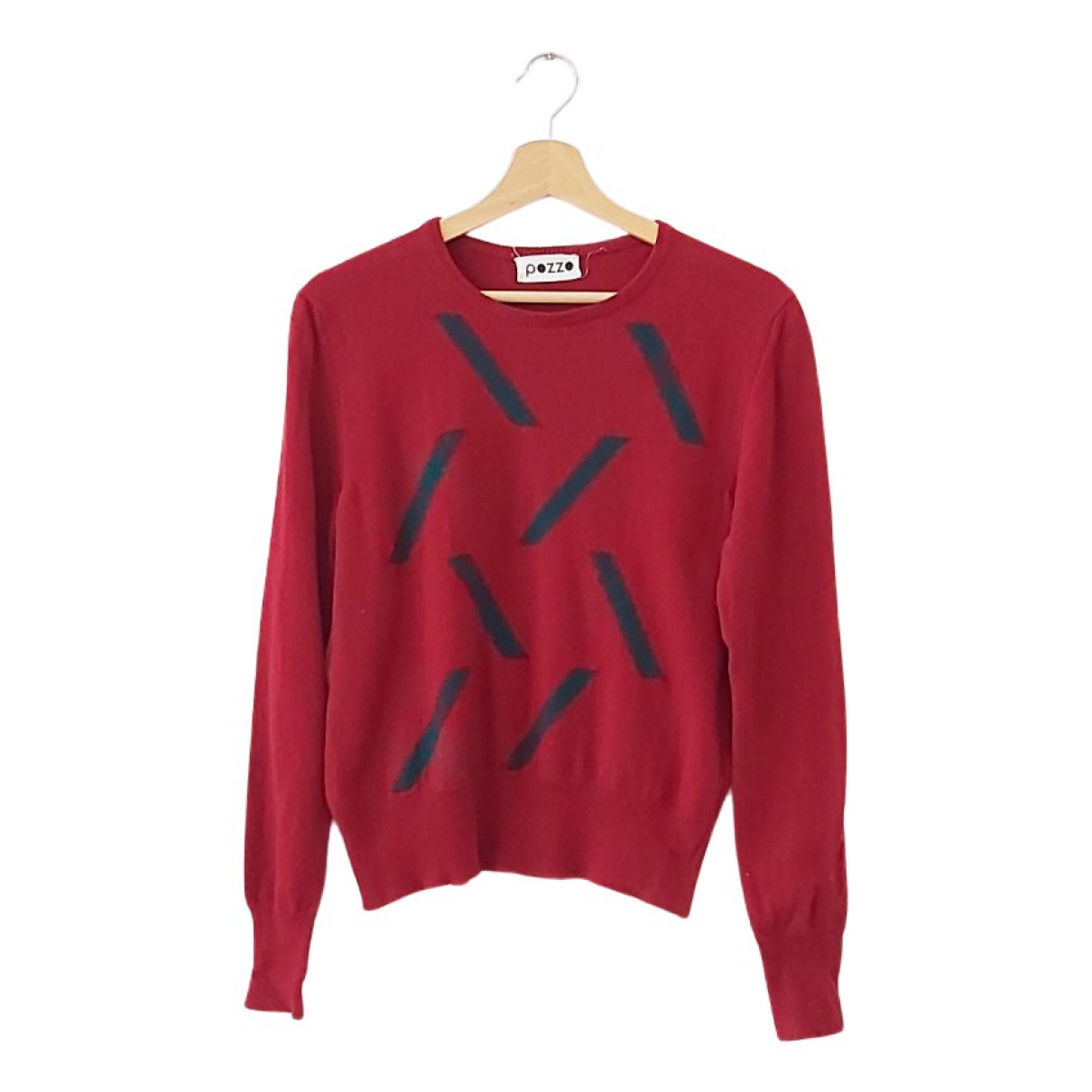 Non Signe / Unsigned Hippie Chic Pullover.Westen.Sweatshirts  in  Rot Wolle