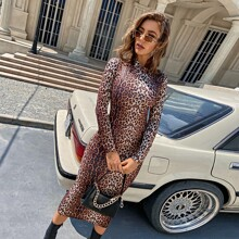 Mock Neck Split Back Leopard Bodycon Dress
