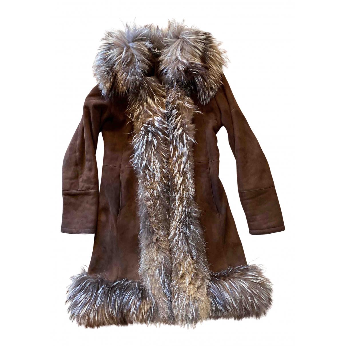 Thes & Thes - Manteau   pour femme en cuir - marron