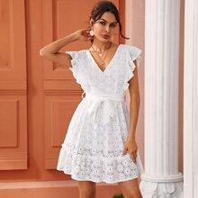 Eyelet Embroidery Ruffle Sleeve Belted Dress