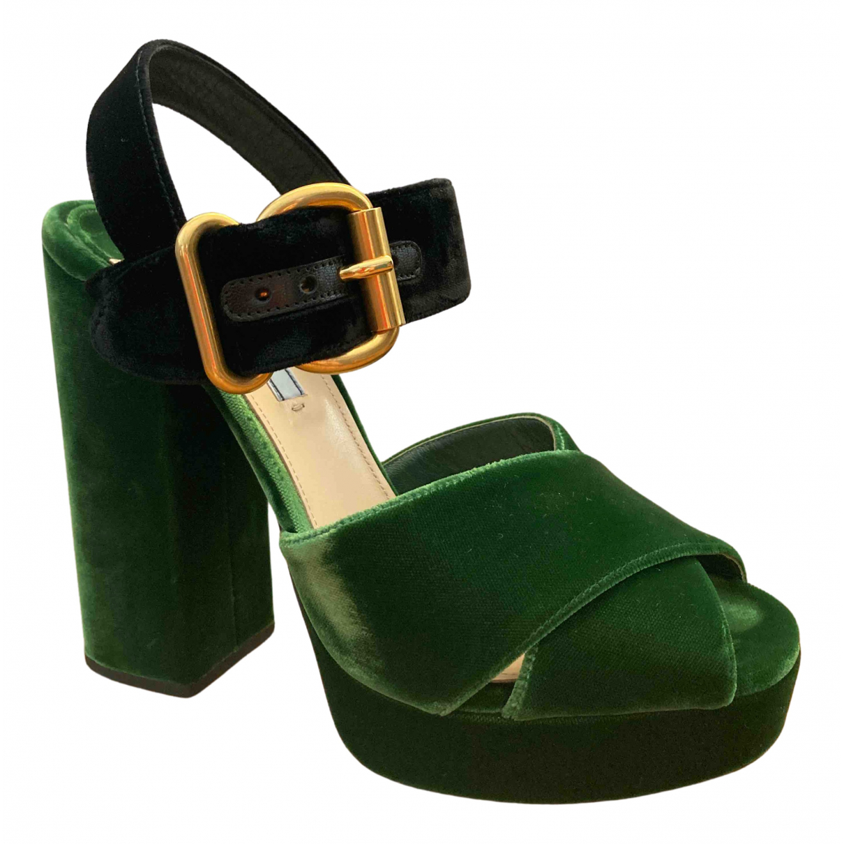 Prada \N Green Velvet Sandals for Women 40 IT