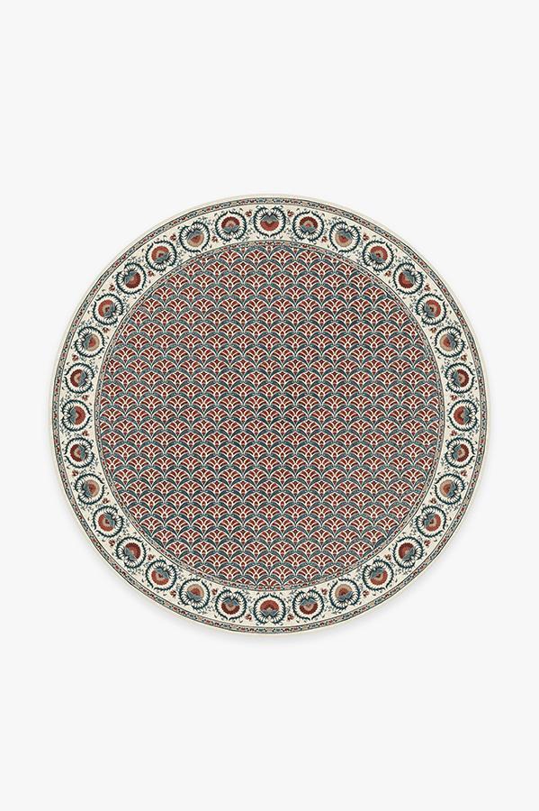 Washable Rug Cover | Samira Suzani Imari Rug | Stain-Resistant | Ruggable | 6' Round