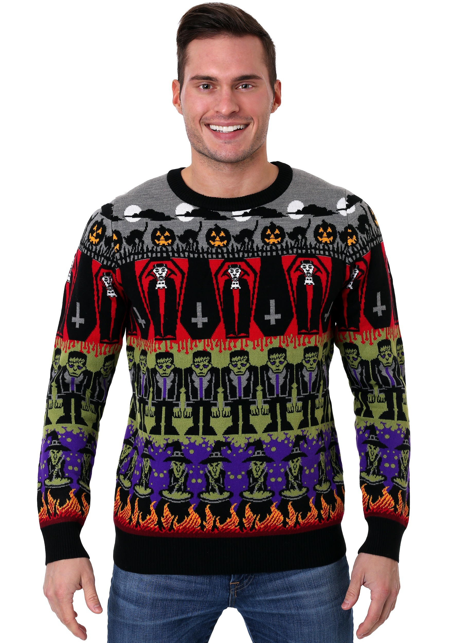 Classic Horror Monsters Fair Isle Ugly Halloween Sweater