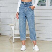 Raw Hem High Waist Jeans