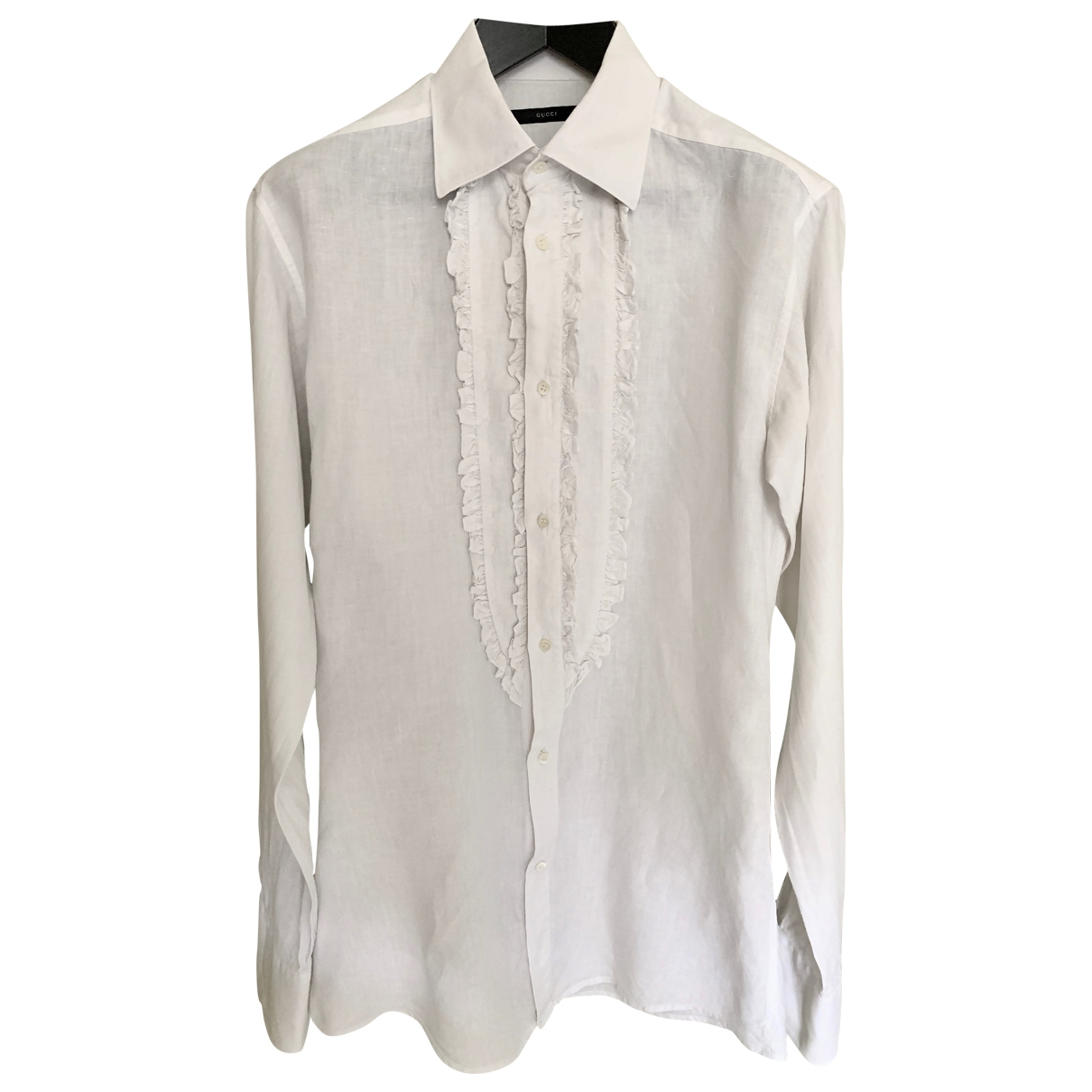 Gucci N White Linen Shirts for Men 39 EU (tour de cou / collar)