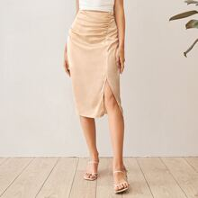 Ruched Detail Split Hem Satin Skirt