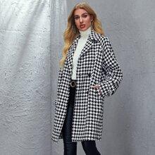 Lapel Neck Houndstooth Tweed Coat