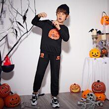 Conjunto pullover con estampado de letra y halloween con pantalones deportivos