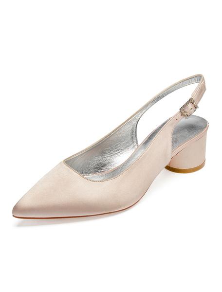 Milanoo Satin Wedding Shoes Pointed Toe Slingbacks Bridal Shoes Bridesmaid Shoes