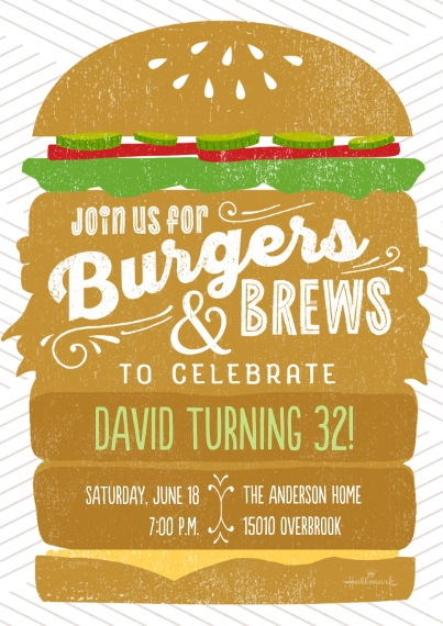 Birthday Party Invites 5x7 Cards, Standard Cardstock 85lb, Card & Stationery -Burgers & Brews
