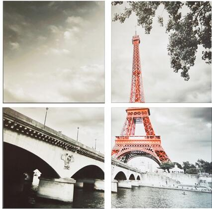 FR-1083ABCD 4-Piece Wall Art Set with Eiffel Tower and Bridge in Grey and