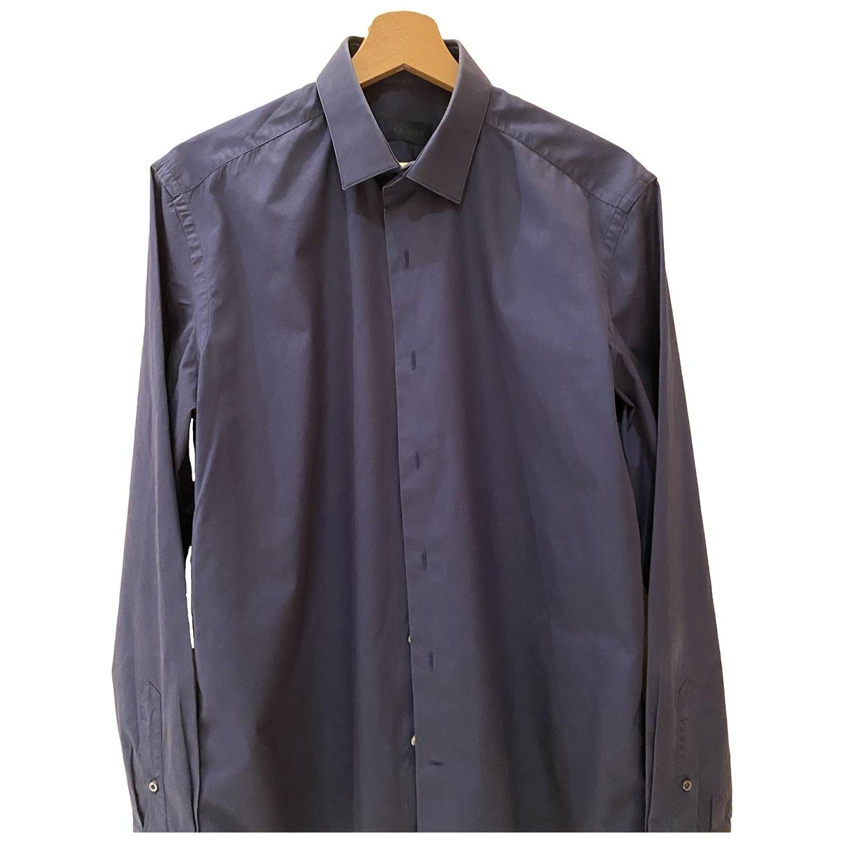 Lanvin - Chemises   pour homme en coton - marine