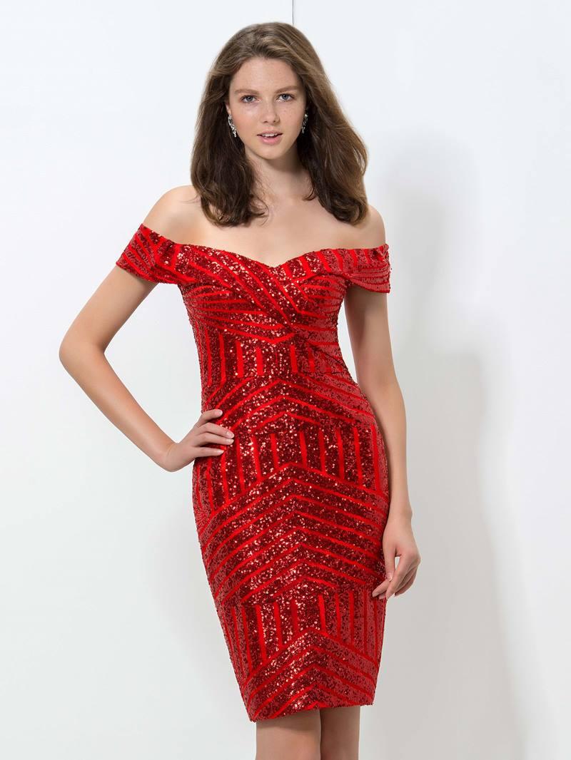 Ericdress Off-The-Shoulder Sequins Cocktail Dress