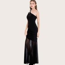 Angel-Fashions One Shoulder Rhinestone Ruched Prom Dress