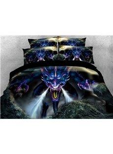 Powerful Dragon Digital Printing 5-Piece Red 3D Comforter Sets