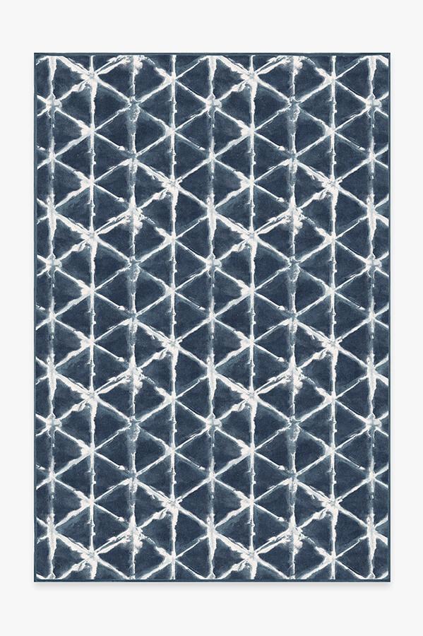 Washable Rug Cover & Pad | Diamond Shibori Navy Rug | Stain-Resistant | Ruggable | 6x9