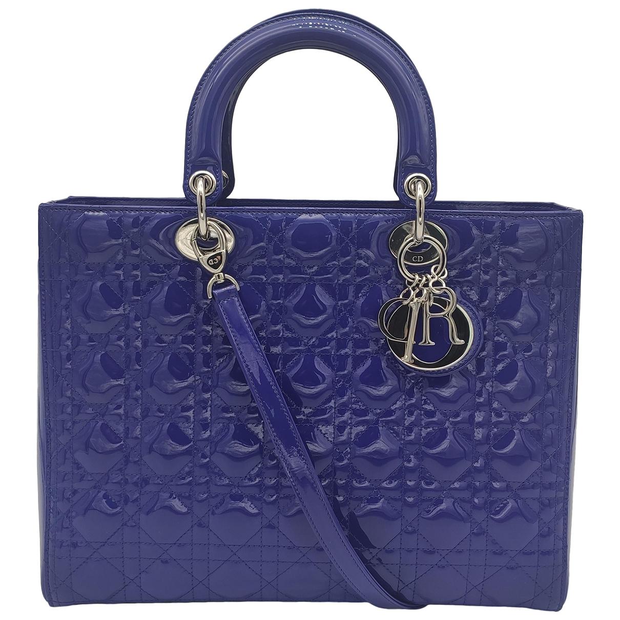 Dior Lady Dior Purple Patent leather handbag for Women N