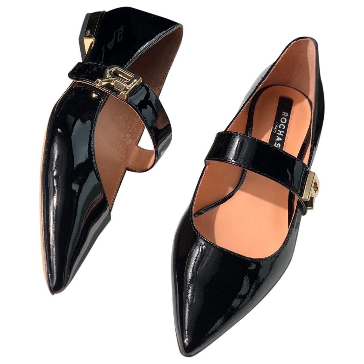 Rochas - Ballerines   pour femme en cuir verni - noir