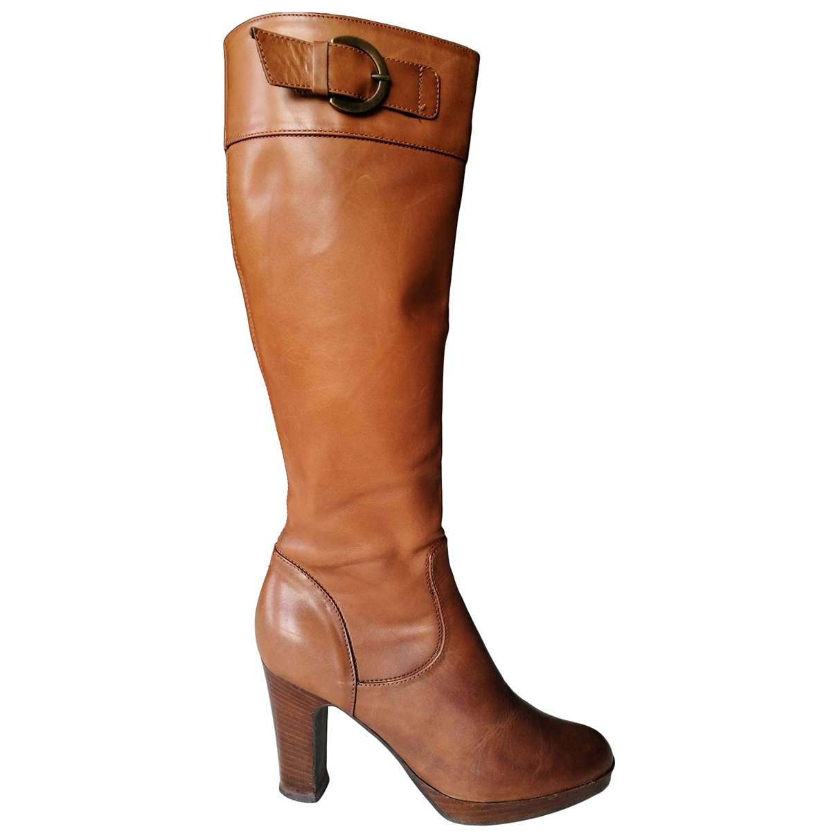 Non Signé / Unsigned \N Camel Leather Boots for Women 37 EU