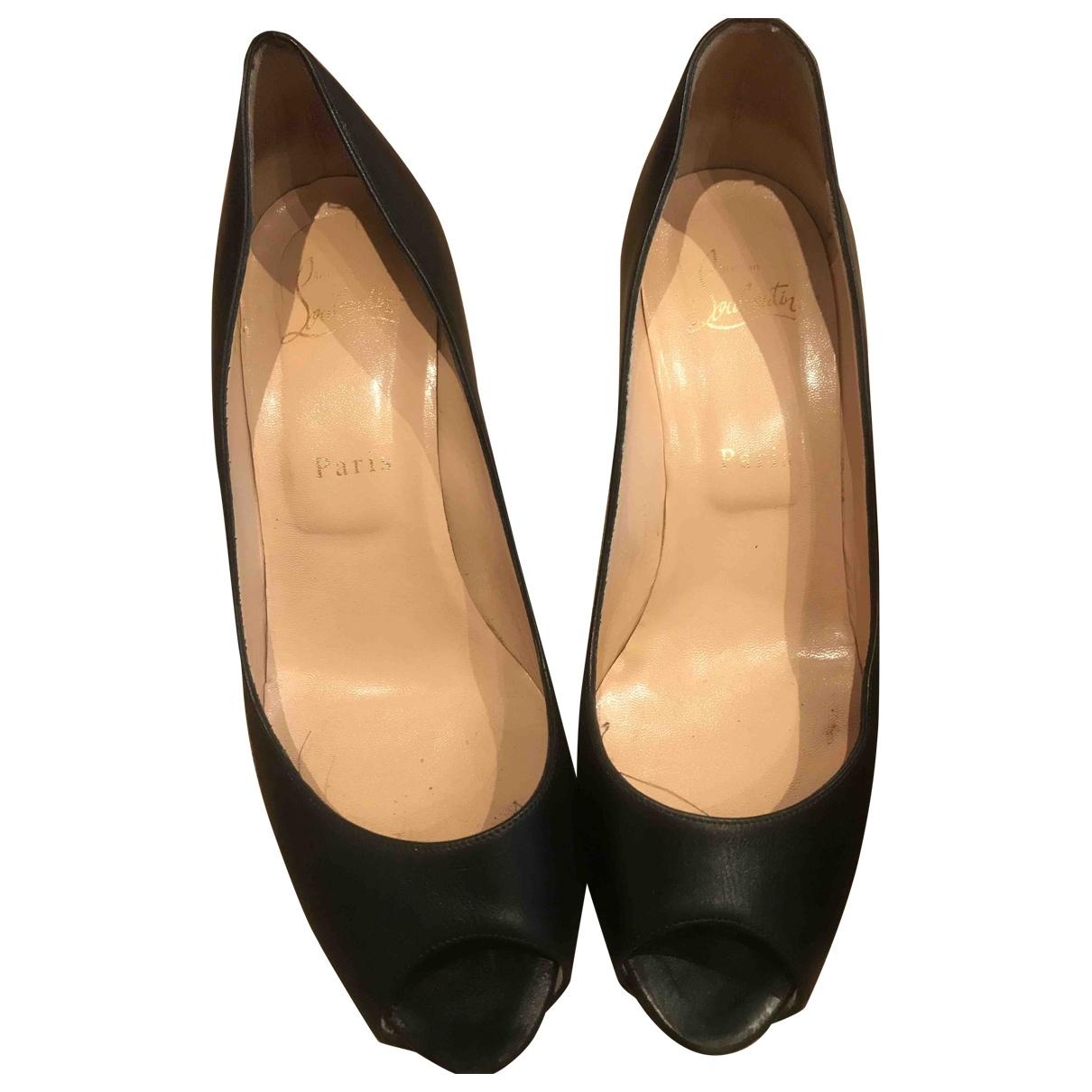 Christian Louboutin Lady Peep Black Leather Heels for Women 38 EU