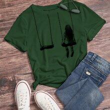 Camiseta con estampado de figura