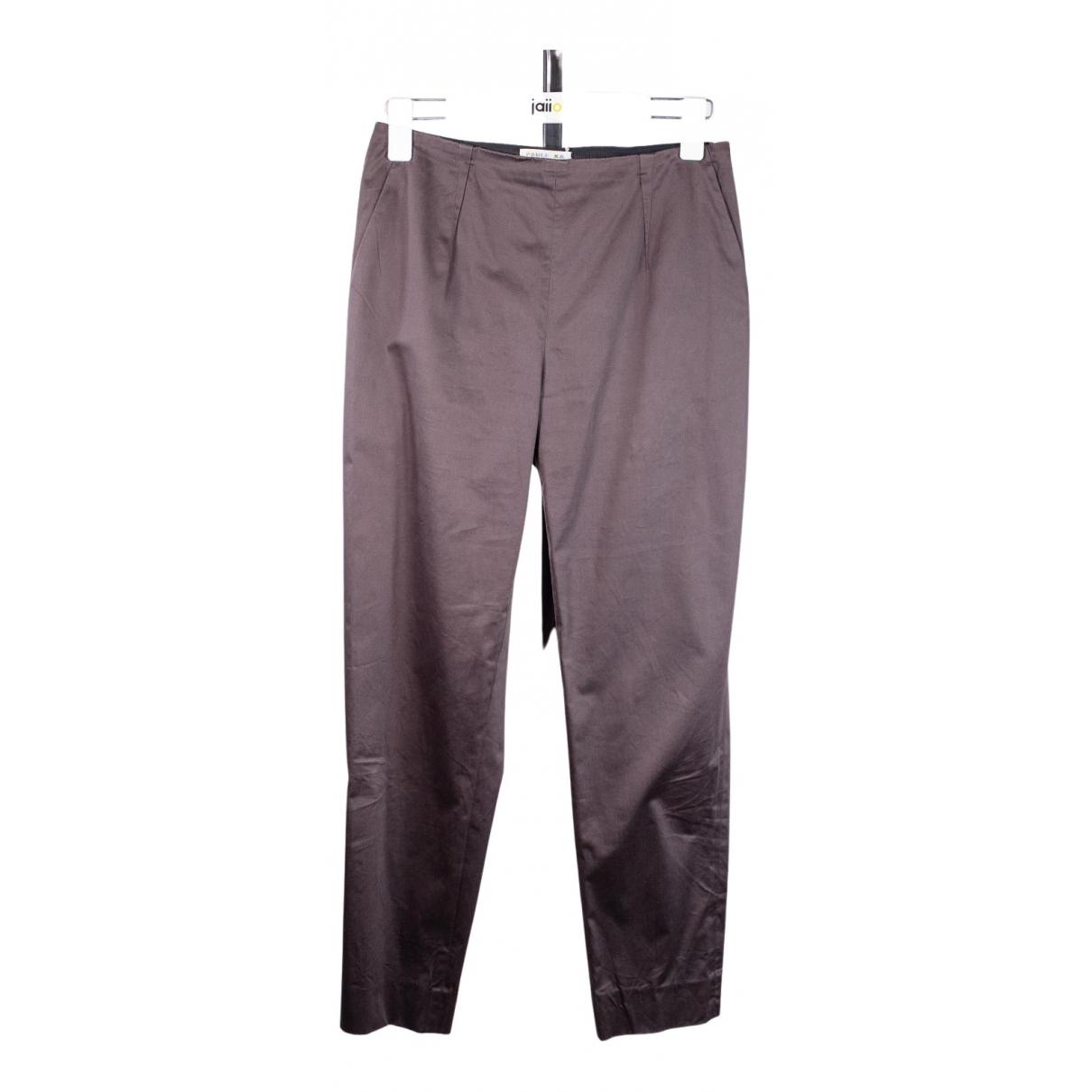 Paule Ka N Brown Cotton Trousers for Women 38 FR