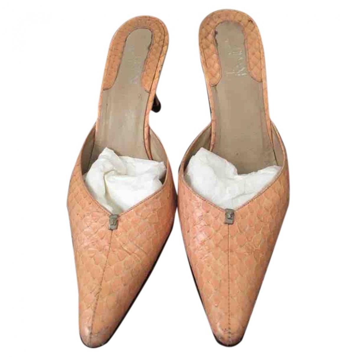 Versace \N Orange Python Sandals for Women 38 EU