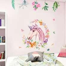 Unicorn & Flower Print Wall Sticker