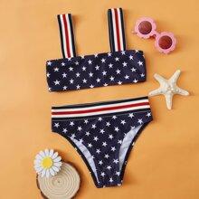 Bikini Badeanzug mit Stern Muster und Streifen am Saum