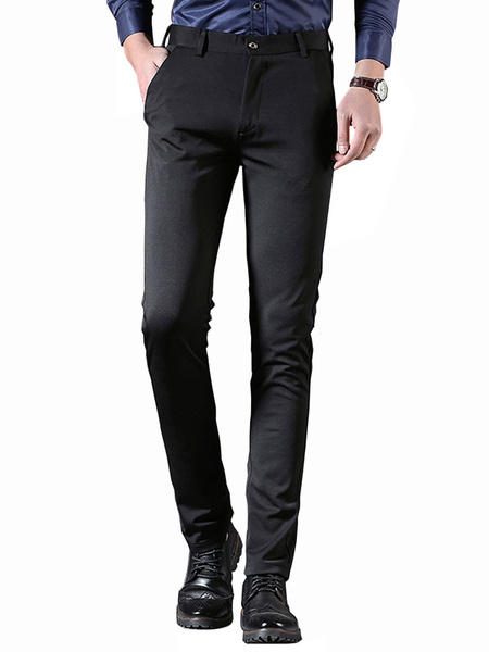 Milanoo Black Dress Pant Serge Work Pant Straight Leg Pant For Men